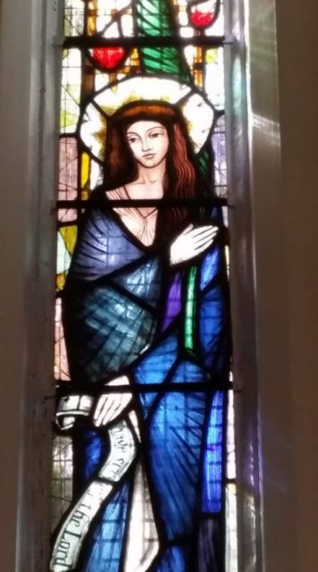 1 of 8 beautiful windows in our Lady Chapel, by Master Glazier Laurence Lee.
